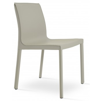 Polo Full Upholstered Dining Chair, Bone Bonded Leather by SohoConcept Furniture