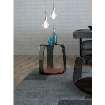 Chakra Side Table, Canaletto Walnut Wood Base, Grey Transparent Glass Top