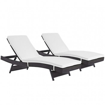 Convene Chaise Outdoor Patio, Set of 2, Espresso, White by Modway