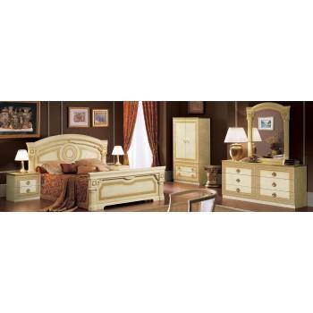 Aida Queen Size Bedroom Set, Ivory + Gold