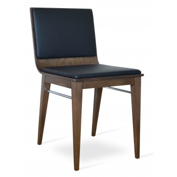 Corona Wood Dining Chair, Beech Walnut Finish, Black Leatherette, Extra Pad by SohoConcept Furniture