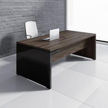 Mito Executive Desk MIT3, Dark Sycamore + Black High Gloss