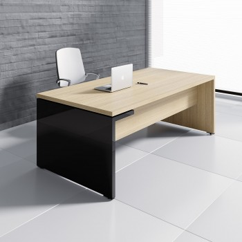 Mito Executive Desk MIT3, Light Sycamore + Black High Gloss