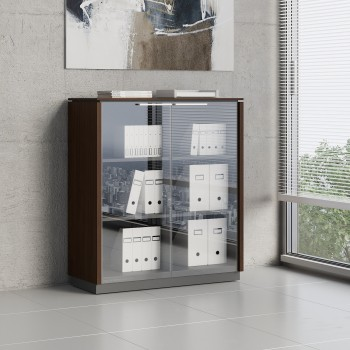 Status 2 Glass Door Storage Cabinet X35, Chestnut