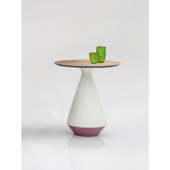 Amira Side Table, Matt White and Purple Ceramic Base, Natural Oak Wood Top photo
