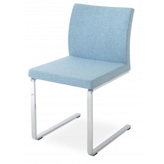 Aria Flat Dining Chair, Smoke Blue Camira Wool photo