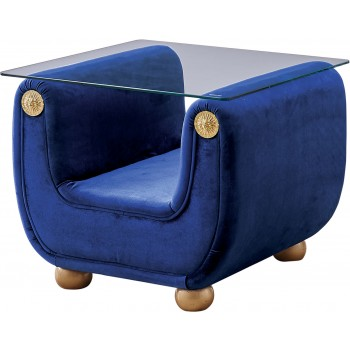 Giza Fabric End Table, Dark Blue