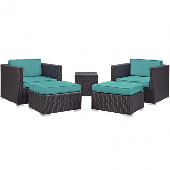 Convene 5 Piece Outdoor Patio Sectional Set, Сomposition 1, Espresso, Turquoise by Modway