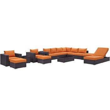 Convene 12 Piece Outdoor Patio Sectional Set, Espresso, Orange by Modway
