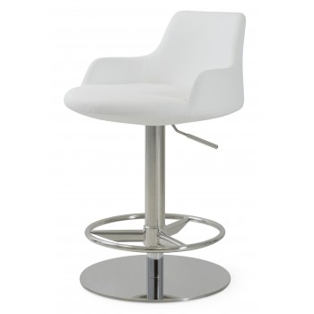 Dervish Piston Stool, White Leatherette, Full Foot Rest by SohoConcept Furniture