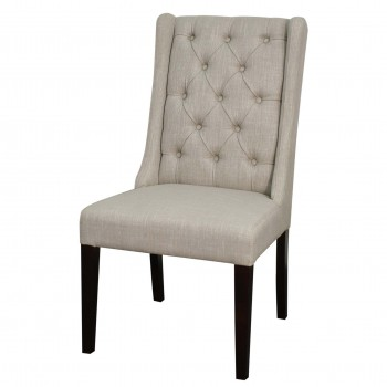 Ashton Fabric Tufted Chair, Wenge Legs, Almond, Set of 2 by NPD (New Pacific Direct)