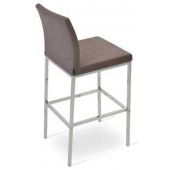 Aria Chrome Bar Stool, Mocha Camira Wool by SohoConcept Furniture