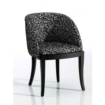 4390 Dining Arm Chair, Black Base, White + Black Upholstery