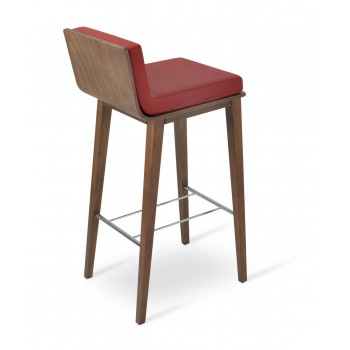 Corona Wood Counter Stool, Plywood Walnut Finish, Red Leatherette, Dallas Seat by SohoConcept Furniture