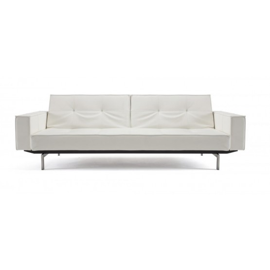 Splitback Sofa Bed w/Arms, 588 Leather Look White PU + Stainless Steel Legs photo
