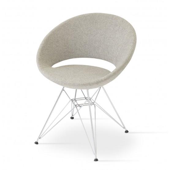 Crescent Tower Chair, Chrome, Gray & Cream Camira Wool photo