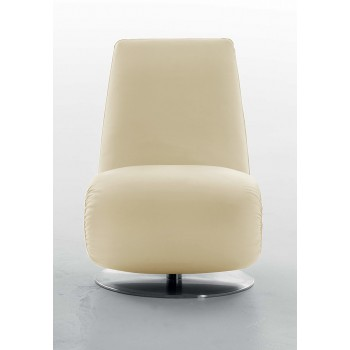 Ricciolo Chaise Lounge, Beige Leather