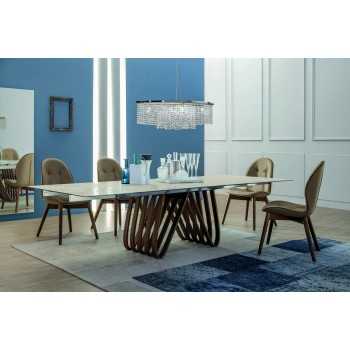 Arpa Extendable Dining Table, Canaletto Walnut Wood Base, Grey Anodized Aluminum Rails, White Glass Ceramic Top