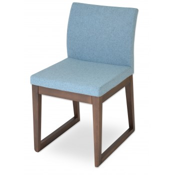Aria Sled Wood Dininng Chair, Solid Beech Walnut Finish, Smoke Blue Camira Wool by SohoConcept Furniture