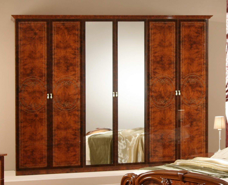 Gioia 6-Door Wardrobe w/Mirror, Walnut