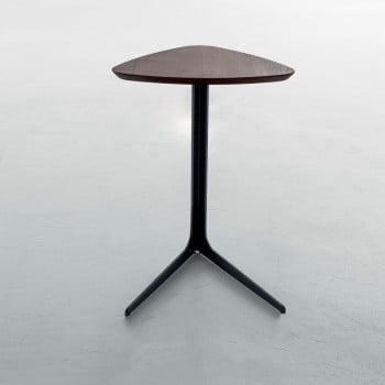 Celine Standard Side Table, Matt Black Metal Base, Chestnut  Finished Oak Wood Top