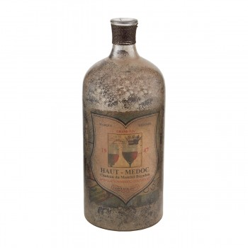 12-Inch Aged Mercury Glass Bottle