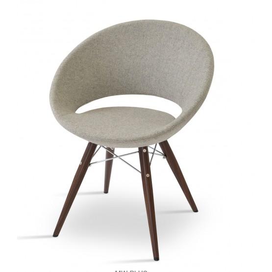 Crescent MW Plus Chair, Walnut Veneer Steel, Grey & Cream Camira Wool, Large Seat photo