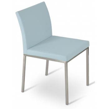 Aria Dininng Chair, Stainless Steel Base, Smoke Blue Camira Wool by SohoConcept Furniture
