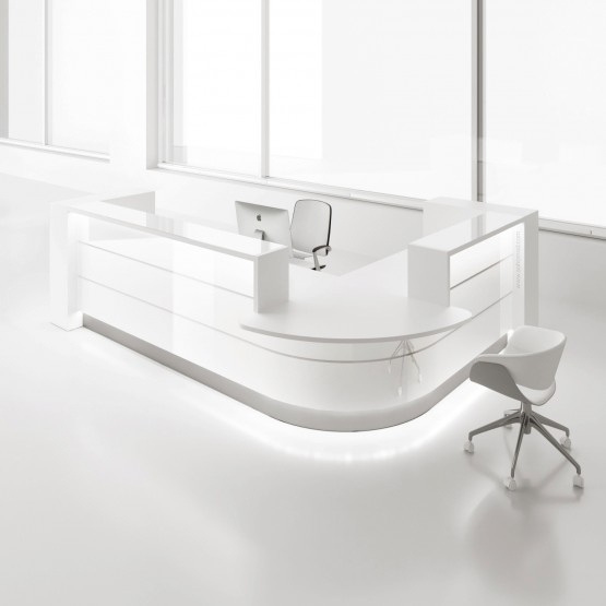Valde LAV123L Reception Desk, High Gloss White photo