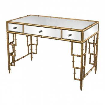 Tunbridge Mirror Top Desk With Bamboo Frame In Gold Leaf