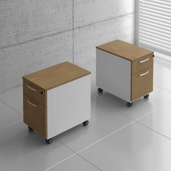Basic KKT12 Mobile Pedestal w/Files Drawer, White + Canadian Oak
