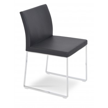 Aria Sled Dininng Chair, Black Genuine Leather by SohoConcept Furniture
