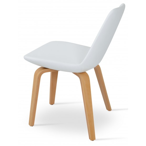 Eiffel Plywood Dining Chair, Natural Finish, White Leatherette photo
