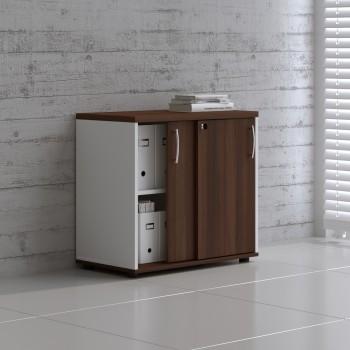 Sliding Doors Storage Unit A2P04, White + Lowland Nut