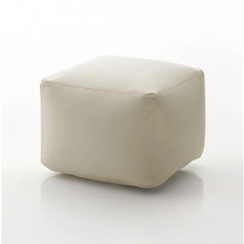 Truly Small Pouf, Beige Eco-Leather
