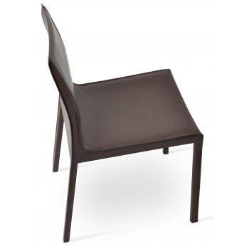 Polo Full Upholstered Dining Chair, Brown Bonded Leather by SohoConcept Furniture