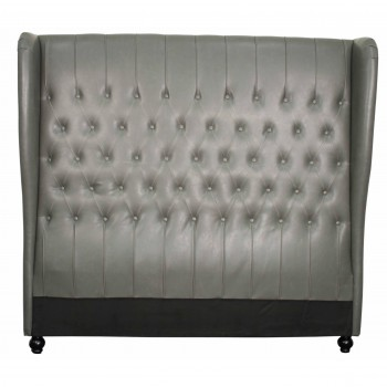 Alice Queen Bonded Leather Wing Headboard, Vintage Gray by NPD (New Pacific Direct)