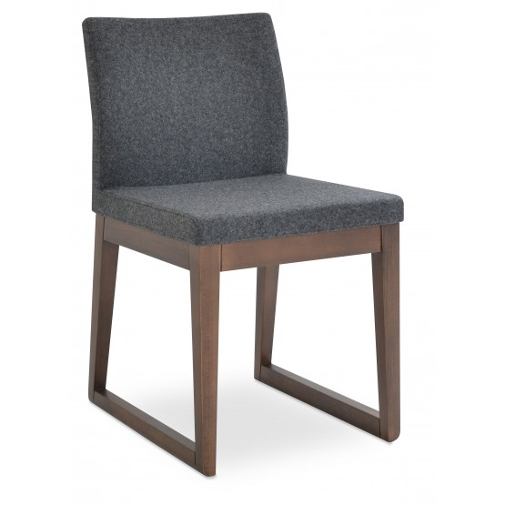 Aria Sled Wood Dining Chair, Solid Beech Walnut Finish, Dark Grey Camira Wool photo