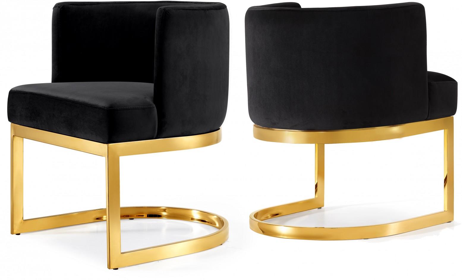 Awesome Gianna Velvet Dining Chair Black Gold Legs Beatyapartments Chair Design Images Beatyapartmentscom