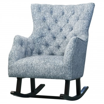 Abigail KD Fabric Tufted Rocking Chair, Quiver Indigo Blue