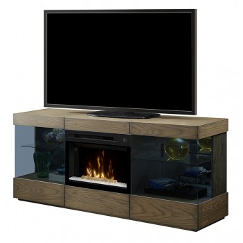 "Axel Media Console, Raked Sand Finish, Acrylic Ice 25"" Firebox"