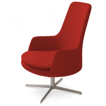 Dervish Lounge High Back 4 Star Armchair, Red Camira Wool by SohoConcept Furniture