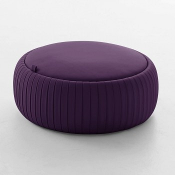 Plisse Medium Pouf, Aubergine Purple Eco-Leather