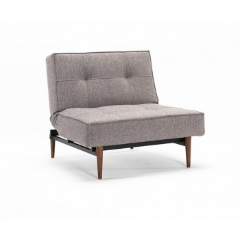 Splitback Chair, 521 Mixed Dance Grey Fabric + Dark Wood Legs