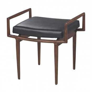 Mid-Century Bench In Dark Cherry And Black