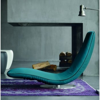 Ricciolo Chaise Lounge, Turquoise Blue Eco-Leather