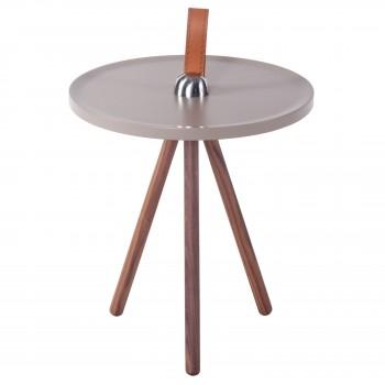 Kai KD End Table, Gray + Walnut
