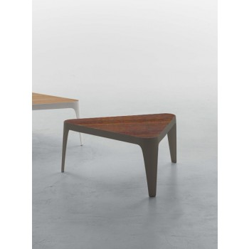 Adele Coffee Table, Stone Bronze Metal Base, Canaletto Walnut Wood Top