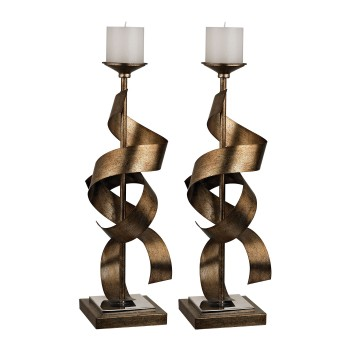Sculpted Metal Candle Holders - Set of 2