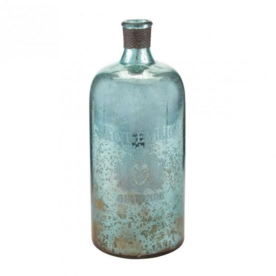 13-Inch Aqua Antique Mercury Glass Bottle photo